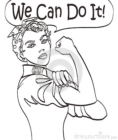 Free We Can Do It. Cool Vector Iconic Woman S Fist Symbol Of Female Power And Industry. Cartoon Woman With Can Do Attitude Royalty Free Stock Photo - 74688655
