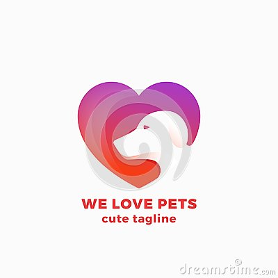Free We Love Pets Abstract Vector Symbol, Sign Or Logo Template. Negative Space Dog Face In A Heart Shape. Modern Simple Stock Photo - 101571930