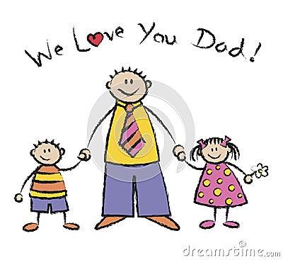Free We Love U Dad Light Skin Tone Royalty Free Stock Photos - 2617848