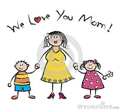 Free We Love U Mom - Fair Skin Tone Stock Photo - 2617970