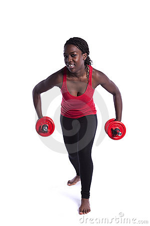 Wealthy african woman exercising