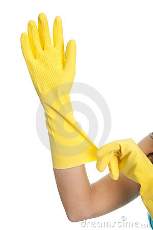 Wearing protective gloves