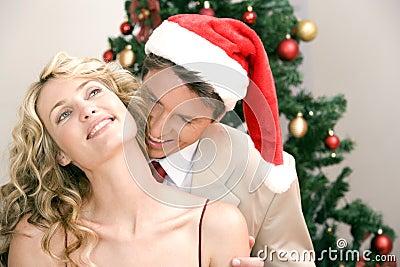 Wearing santa s hat!