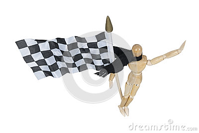Wearing Scarf Holding Checkered Flag