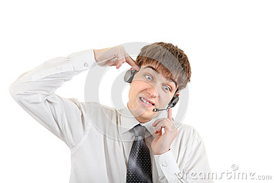 Weary Teenager with Headset