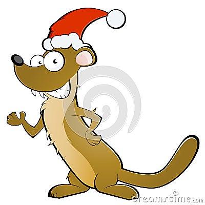 Weasel in Santa Claus hat