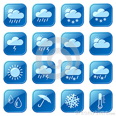 Weather blue icons set