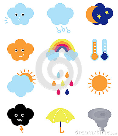 Weather cast cute elements set
