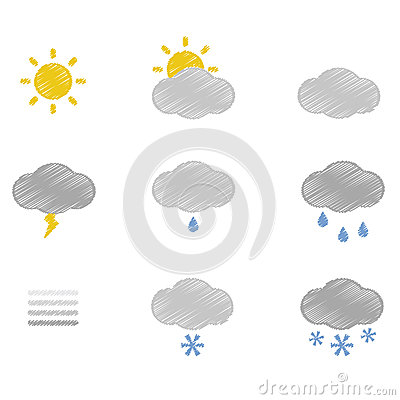 Weather doodle icons set