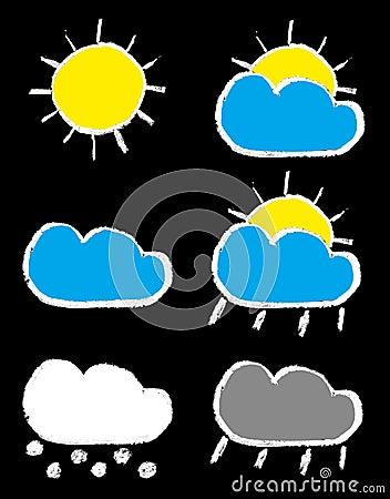 Weather forecast chalk icons set