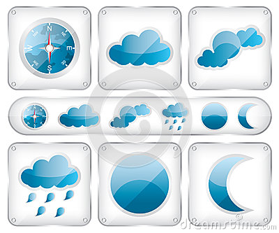 Weather glass icons illustration