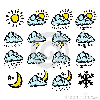Weather hand drawing icons