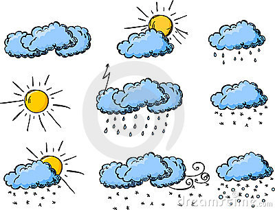 Weather hand drawing icons, vector