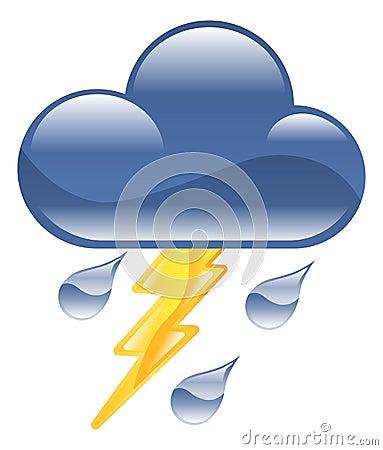 Weather icon clipart lightning thunder storm illus