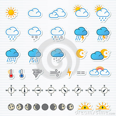 Free Weather Icons Royalty Free Stock Image - 48378366