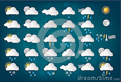 Weather Icons with Blue Background