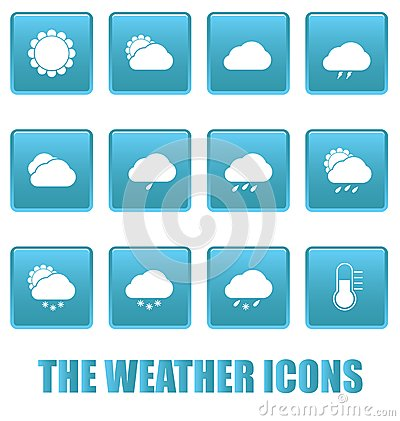 Weather icons on blue squares