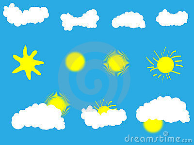 Weather icons clouds and sun
