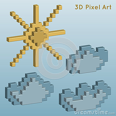 Weather icons. 3D Pixel Art. Vector Illustration