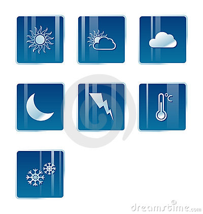 Weather icons, moon, sun, cloud