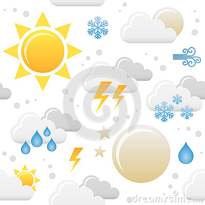 Weather Icons Seamless Pattern