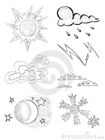 Weather icons set, pencil drawing