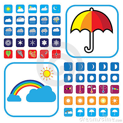 Free Weather Icons Set Showing 50+ Signs And Symbols Royalty Free Stock Photo - 24241795