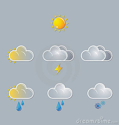 Weather icons, sun, cloud