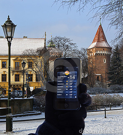 Weather Report - iphone 4s - Krakow - Poland Editorial Photo