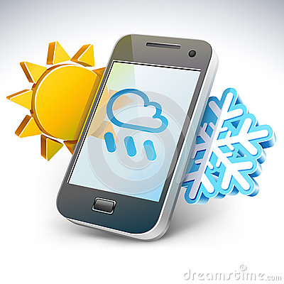 Weather on smartphone — illustration