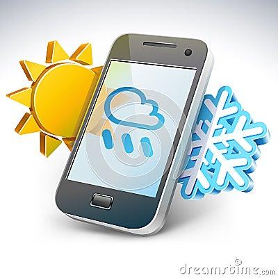 Weather on smartphone — illustration