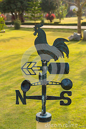 Weather vanes on grass in garden
