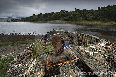Weathered Boat On Shore