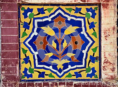 Floral ceramic mosaic from mosque