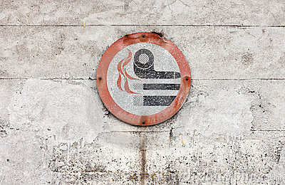 Weathered No Smoking Sign