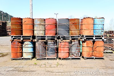 Weathered oil drums