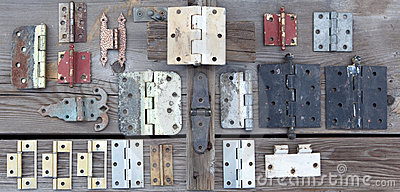 Weathered old hinges to be reused
