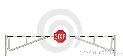 Weathered Road Barrier Gate Stop Sign Isolated