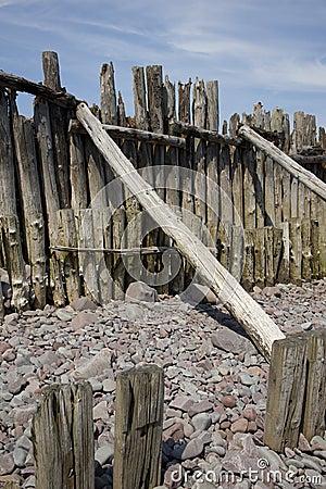 Weathered wood Porlock beach