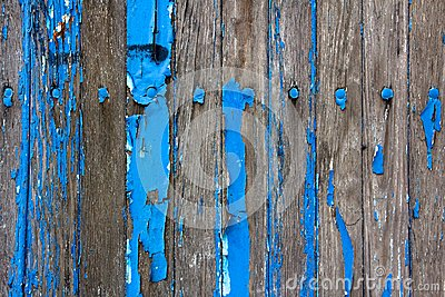 Weathered Wooden Wall With Flaking Blue Paint