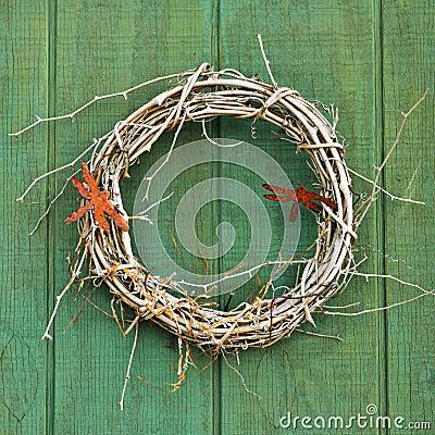 Free Weathered Woven Vine Wreath Stock Photo - 51344350