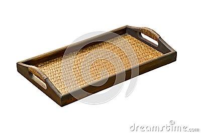 Weave bamboo tray.