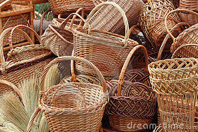 Weave baskets and brooms