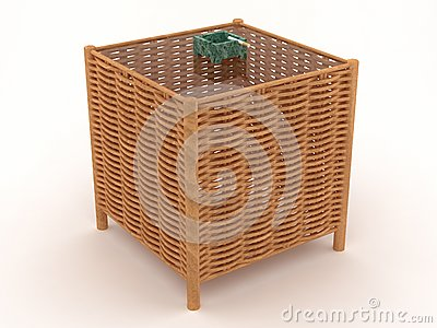 Weaved table with a green ashtray