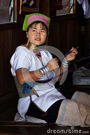 Weaver of a nationality Padaung.InnLake, Inle, Burma, Myanmar, Editorial Stock Photo