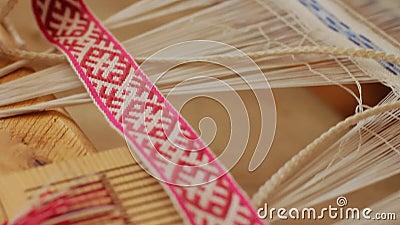 Weaving loom manufacturing linen yarn pattern  Weaving machine in action