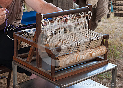 Weaving on a Vintage Loom