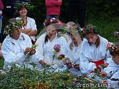 Weaving wreaths, Lublin, Poland Editorial Stock Photo