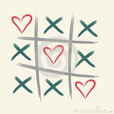 Tic tac toe game with criss cross and heart sign mark. XOXO. Hand drawn brush. Happy Valentines day card. - Vector Vector Illustration
