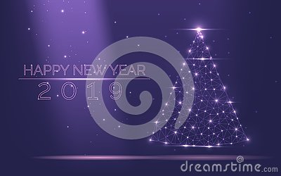 Abstract Christmas tree frame of bright light from particles on a popular purple background as symbol of Happy New Year, Merry Chr Vector Illustration